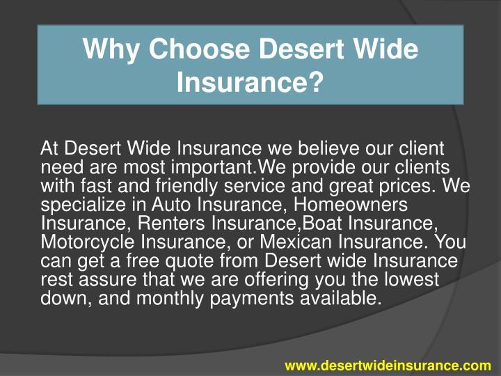 Why Choose Desert Wide Insurance?