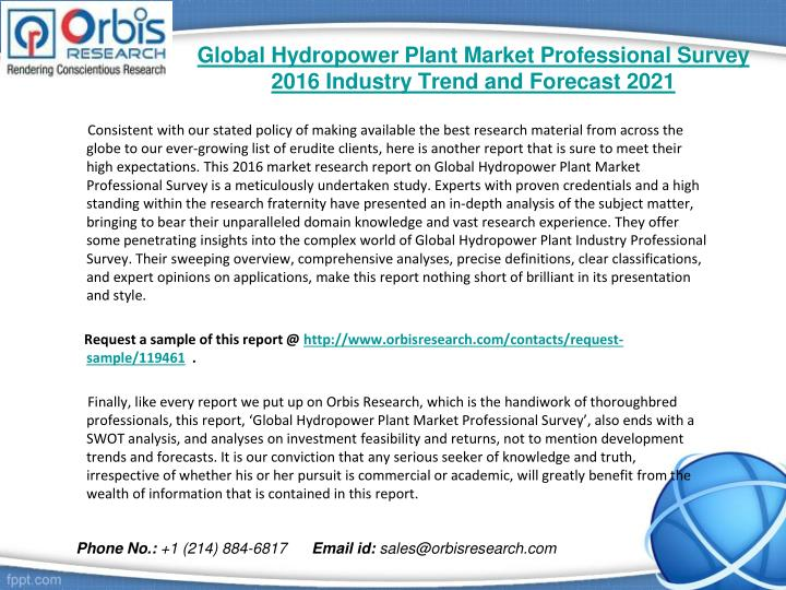 Global hydropower plant market professional survey 2016 industry trend and forecast 20211