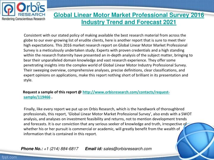 Global linear motor market professional survey 2016 industry trend and forecast 20211