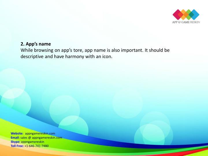 2. App's name