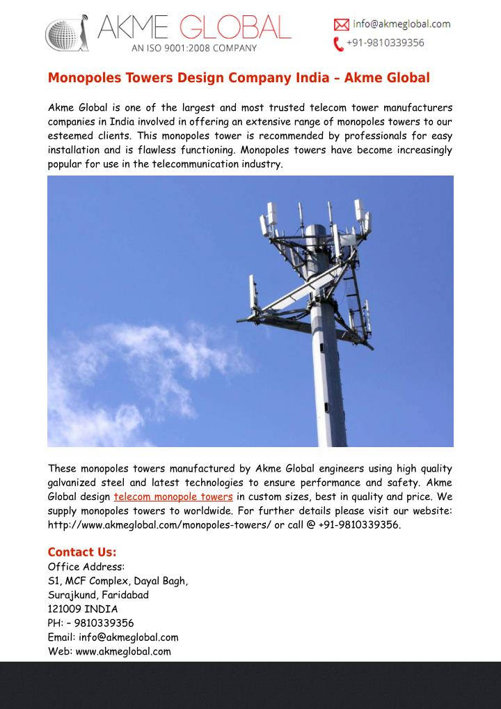 Monopoles Towers Design Company India – Akme Global