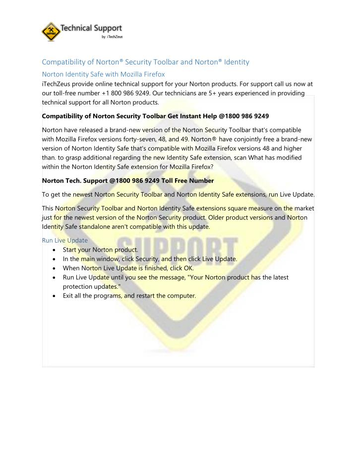 Compatibility of Norton® Security Toolbar and Norton® Identity