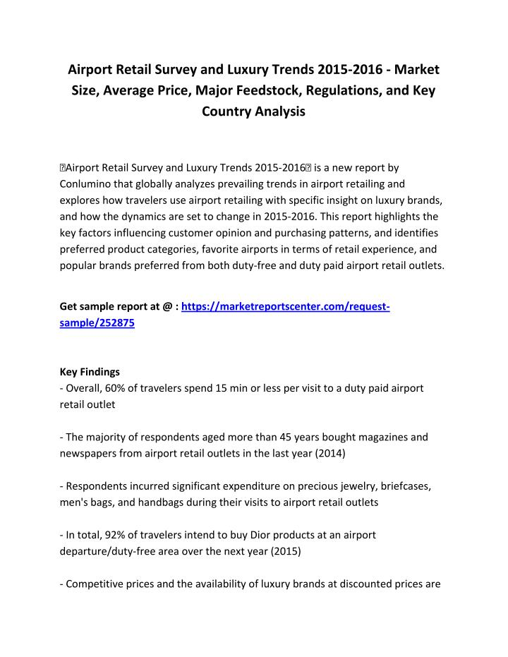 Airport Retail Survey and Luxury Trends 2015-2016 - Market