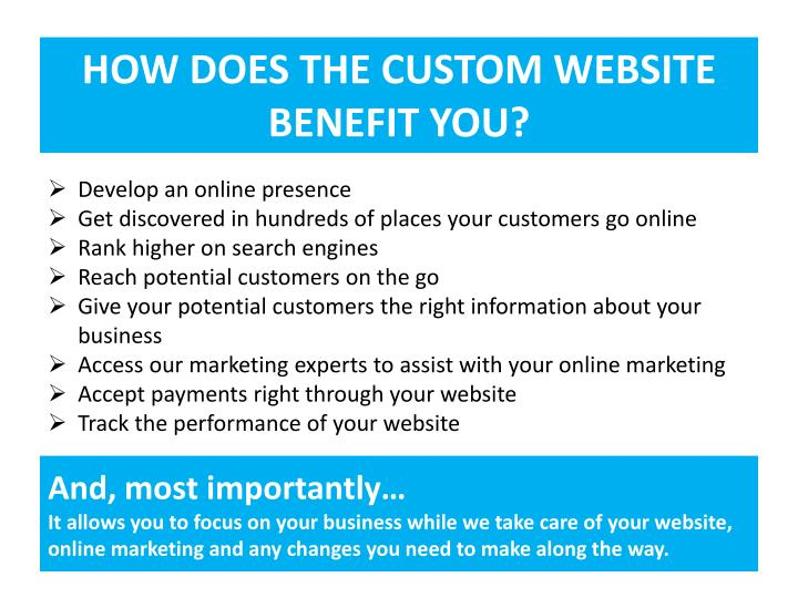 HOW DOES THE CUSTOM WEBSITE
