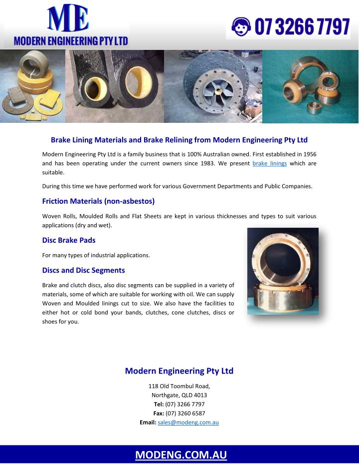 Brake Lining Materials and Brake Relining from Modern Engineering Pty Ltd