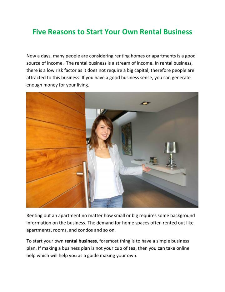 Five Reasons to Start Your Own Rental Business
