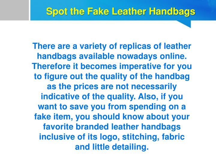 Spot the Fake Leather Handbags