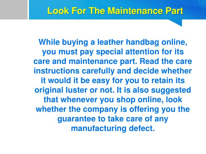 Look For The Maintenance Part