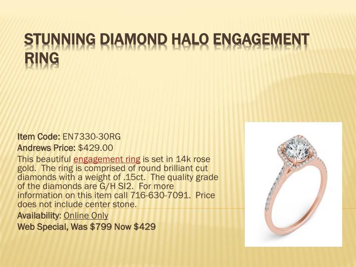 Stunning diamond halo engagement ring