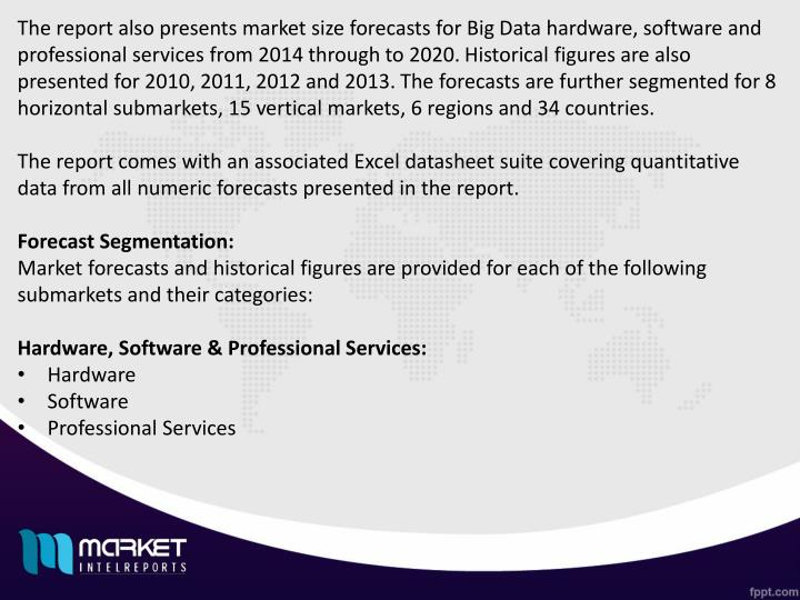 The report also presents market size forecasts for Big Data hardware, software and professional services from 2014 through to 2020. Historical figures are also presented for 2010, 2011, 2012 and 2013. The forecasts are further segmented for 8 horizontal submarkets, 15 vertical markets, 6 regions and 34 countries.