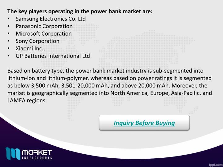 The key players operating in the power bank market are: