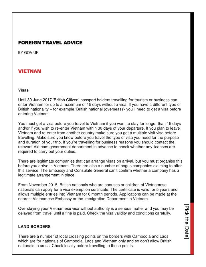 FOREIGN TRAVEL ADVICE