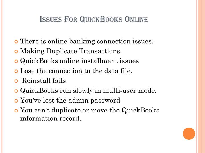 Issues For QuickBooks Online