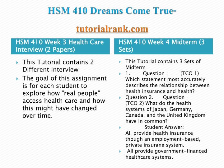 HSM 410 Dreams Come True