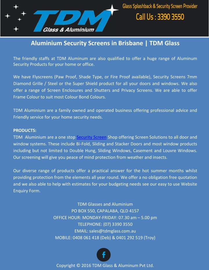 Aluminium Security Screens in Brisbane | TDM Glass