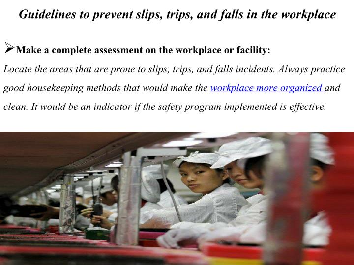 Guidelines to prevent slips, trips, and falls in the workplace
