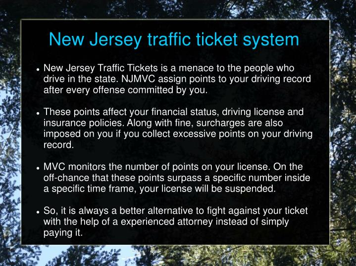 New Jersey traffic ticket system