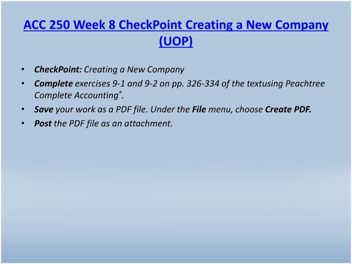 ACC 250 Week 8