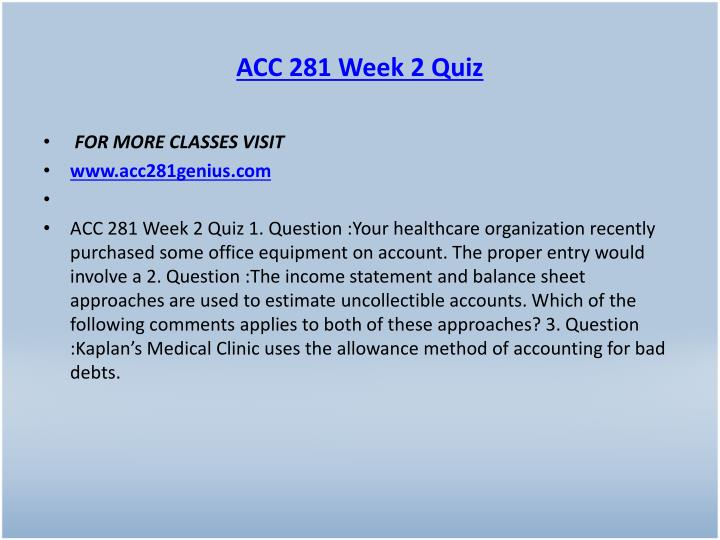 ACC 281 Week 2 Quiz