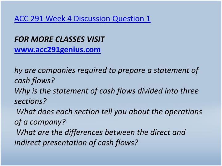 ACC 291 Week 4 Discussion Question 1