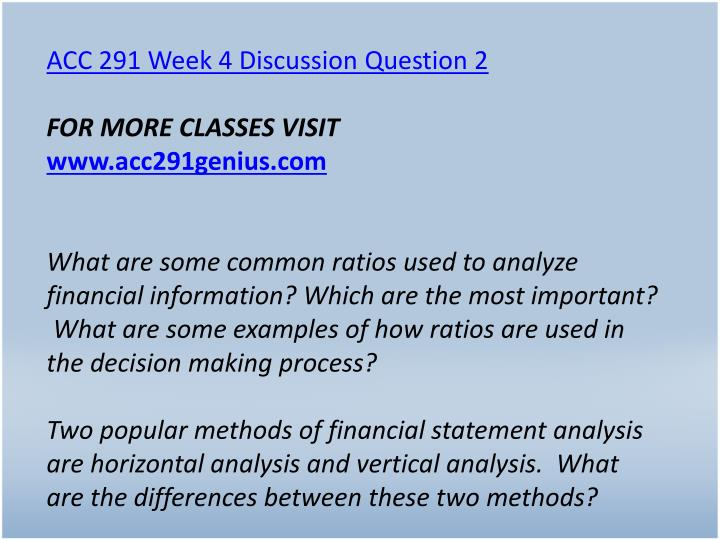 ACC 291 Week 4 Discussion Question 2