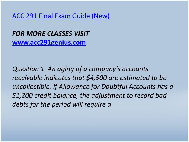 ACC 291 Final Exam Guide (New)