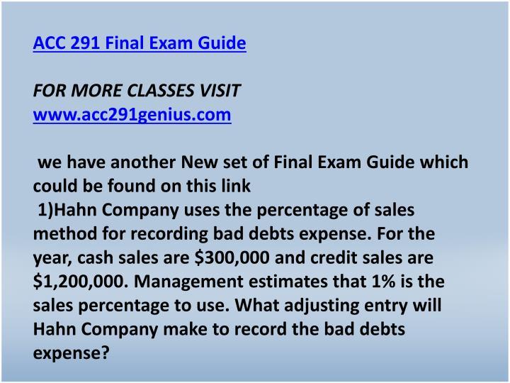 ACC 291 Final Exam Guide