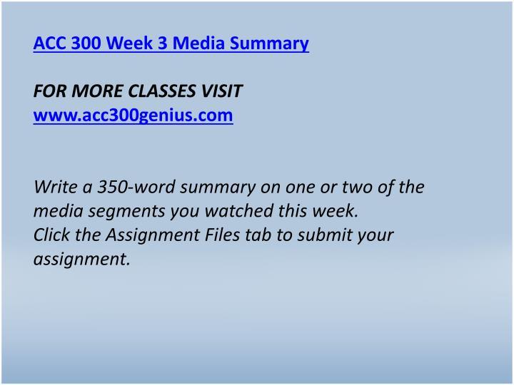 ACC 300 Week 3 Media Summary