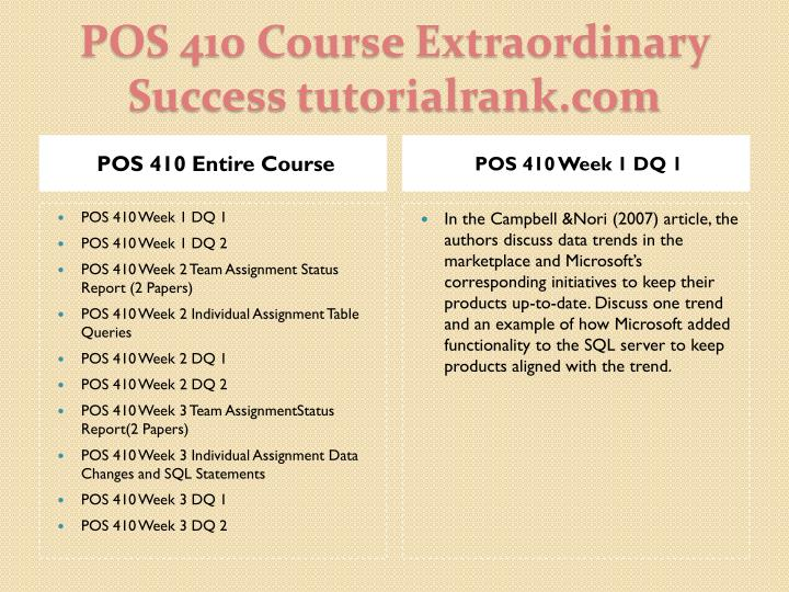 Pos 410 course extraordinary success tutorialrank com1