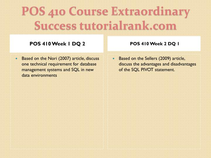 Pos 410 course extraordinary success tutorialrank com2