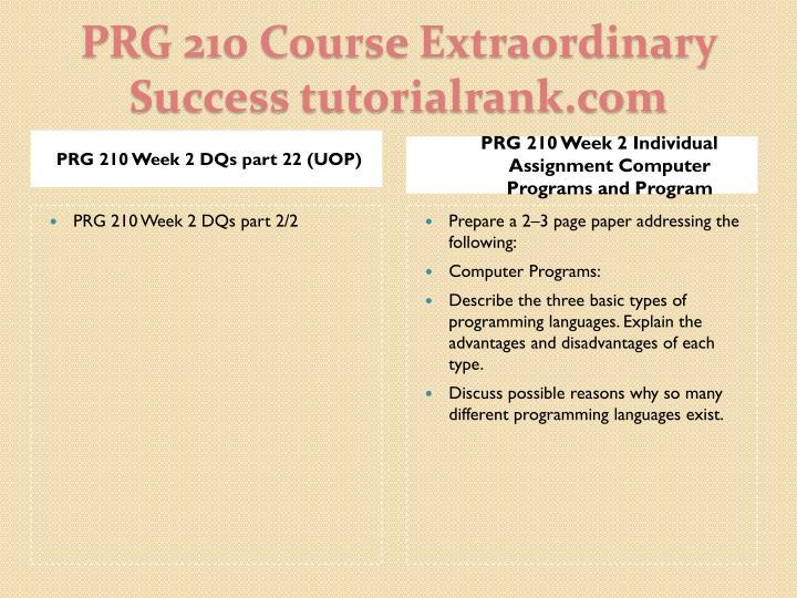 PRG 210 Week 2 DQs part 22 (UOP)