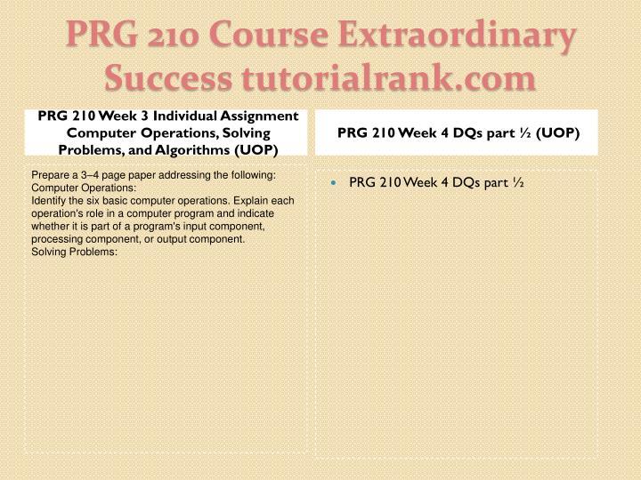 PRG 210 Week 4 DQs part ½ (UOP)