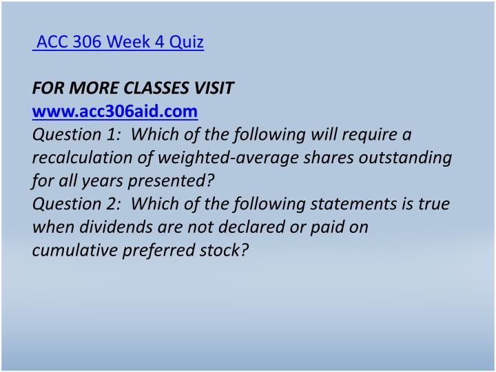 ACC 306 Week 4 Quiz