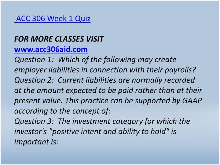 ACC 306 Week 1 Quiz