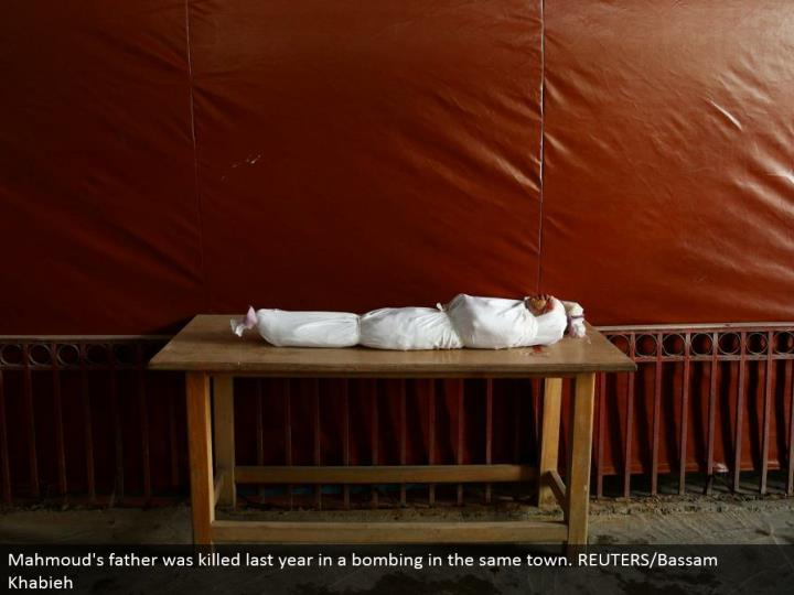 Mahmoud's dad was murdered a year ago in a besieging in a similar town. REUTERS/Bassam Khabieh