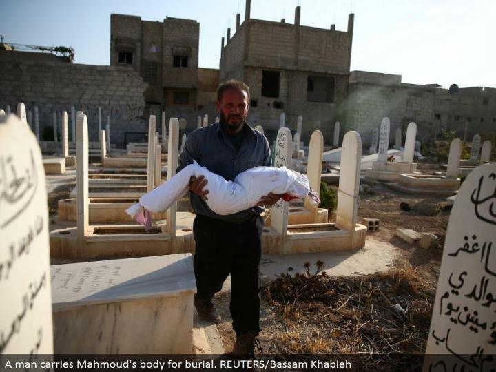 A man conveys Mahmoud's body for entombment. REUTERS/Bassam Khabieh