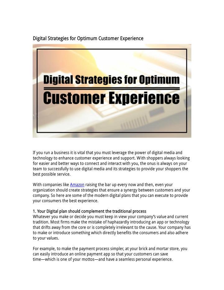 Digital Strategies for Optimum Customer Experience