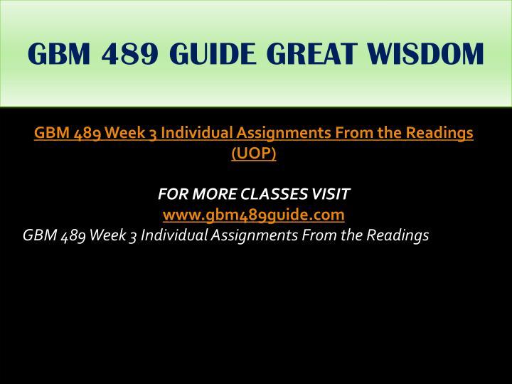 GBM 489 GUIDE GREAT WISDOM