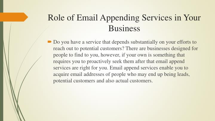 Role of email appending services in your business