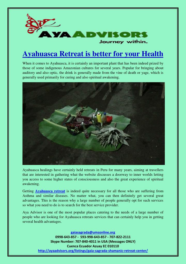 Ayahuasca Retreat is better for your Health