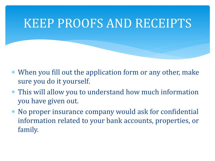 KEEP PROOFS AND RECEIPTS