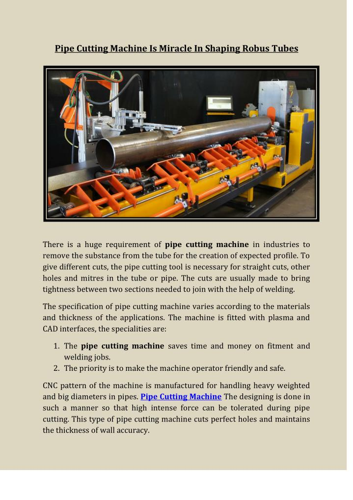 Pipe Cutting Machine Is Miracle In Shaping Robus Tubes
