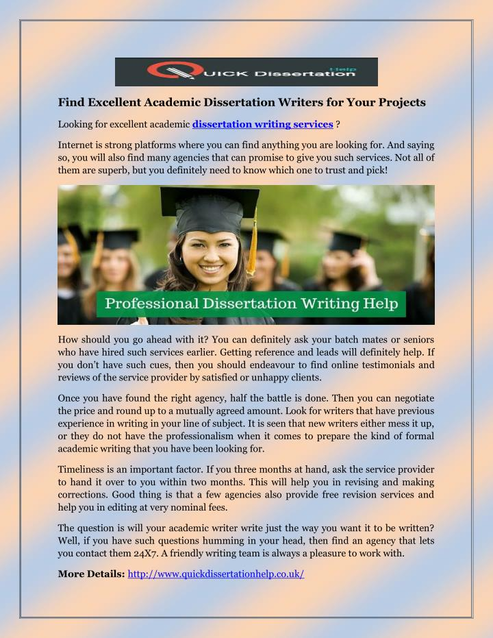 Find Excellent Academic Dissertation Writers for Your Projects