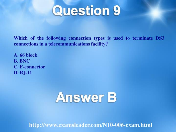 Which of the following connection types is used to terminate DS3 connections in a telecommunications facility?