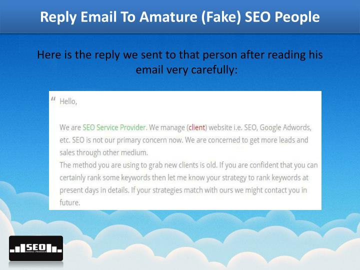 Reply Email To Amature (Fake) SEO People