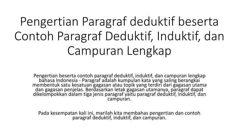 Ppt Pengertian Paragraf Deduktif Powerpoint Presentation Free Download Id 7429841