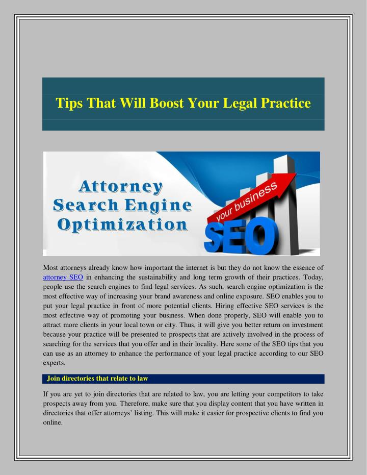 Tips That Will Boost Your Legal Practice