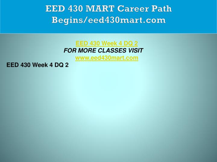 EED 430 MART Career Path Begins/eed430mart.com