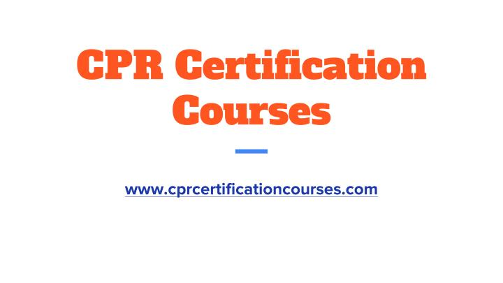 cpr certification courses