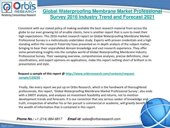 Global waterproofing membrane market professional survey 2016 industry trend and forecast 20211